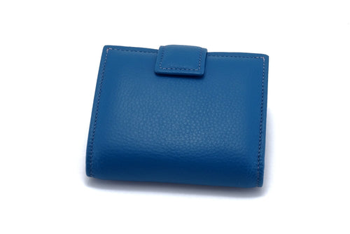 Christine  Azure leather small ladies purse wallet front tab