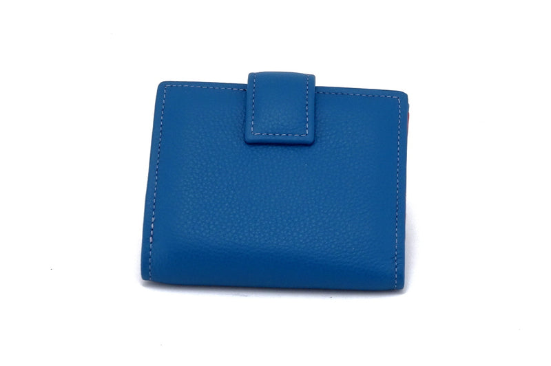 Ladies leather purse azure blue outside back tab view