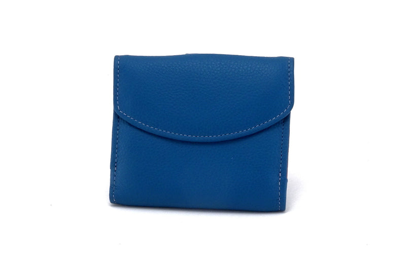 Ladies leather purse azure blue outside front view