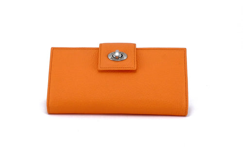 Molly  Pale Orange textured leather ladies clutch purse front nickel fitting