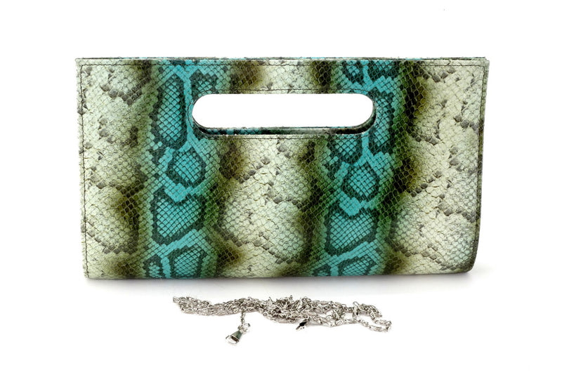 Susan snake printed leather olive & blue evening clutch bag showing chain shoulder strap removed front view