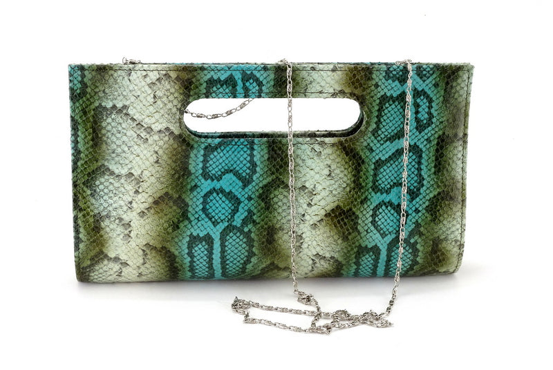 Susan snake printed leather olive & blue evening clutch bag showing chain shoulder strap attached front view