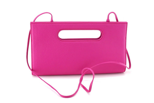 Susan clutch evening leather bag thin shoulder strap on front view