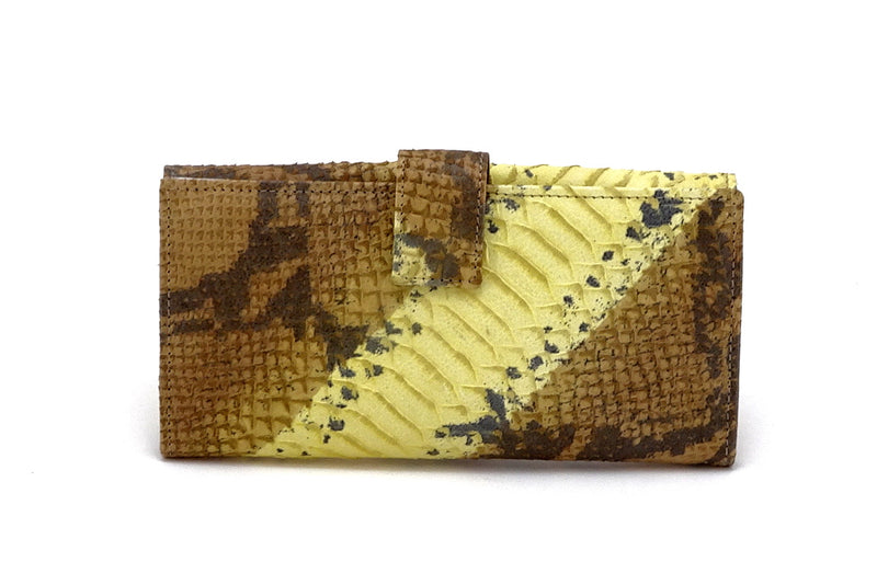 Lyla  Yellow and grey leather snake print ladies clutch purse back tab