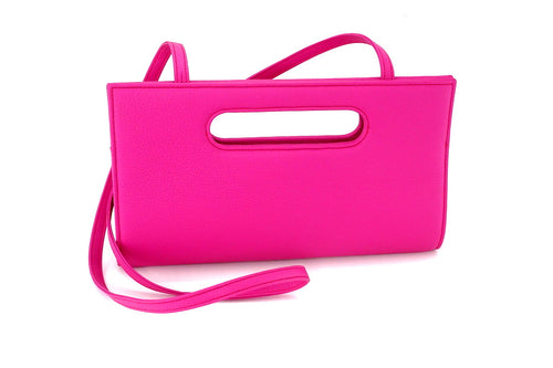 Susan clutch evening leather bag with thick should strap attached front view