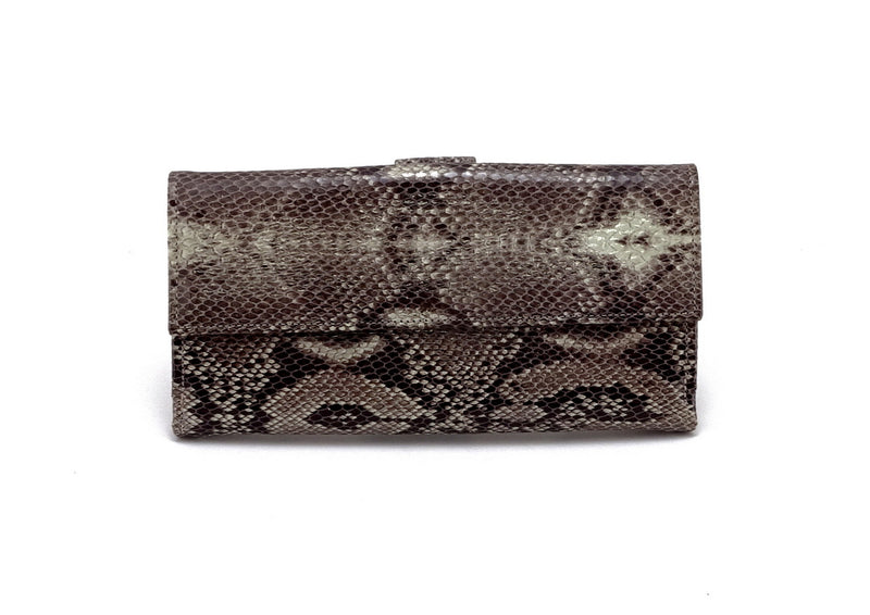 Lyla  Leather snake print ladies clutch purse cream front