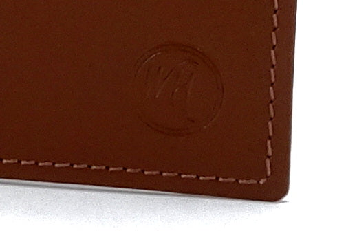 Martin  Brown leather men's large hip wallet embossed logo