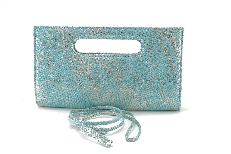 Susan mermaid blue evening clutch bag shoulder straps removed front view