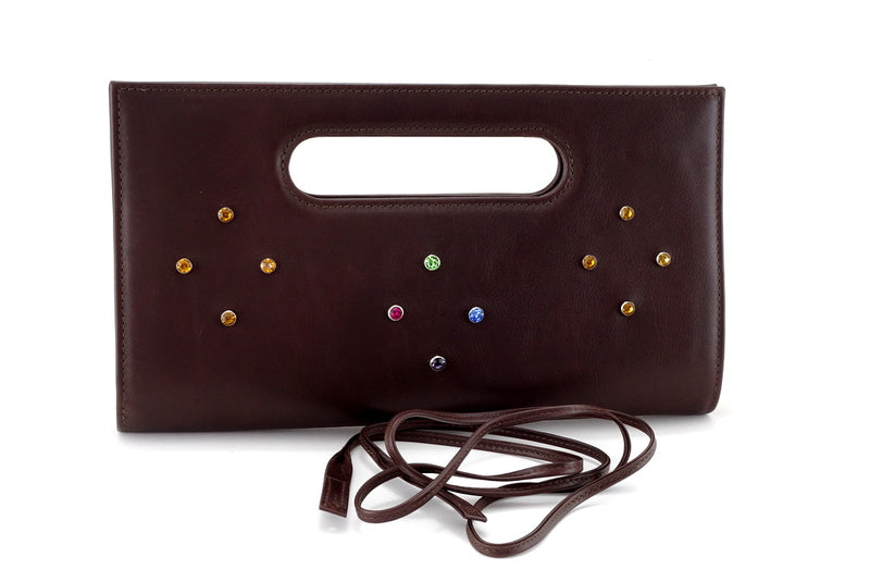 Susan large clutch eveinging bag with crystals brown front view showing shoulder strap off