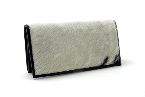 Caitlin  White & black hair on hide lid black leather ladies purse front view