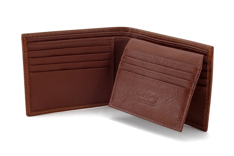 Martin  Brown leather men's large hip wallet embossed logo picture flap