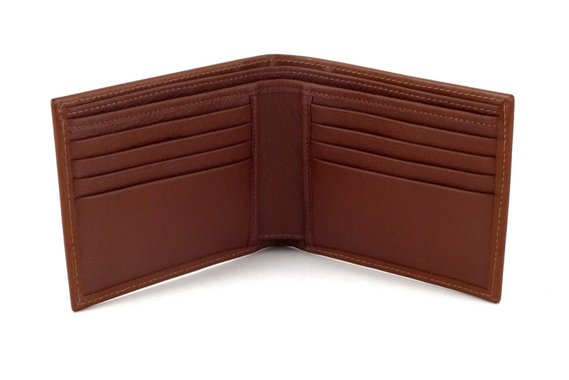 Martin  Brown leather men's large hip wallet embossed logo double credit
