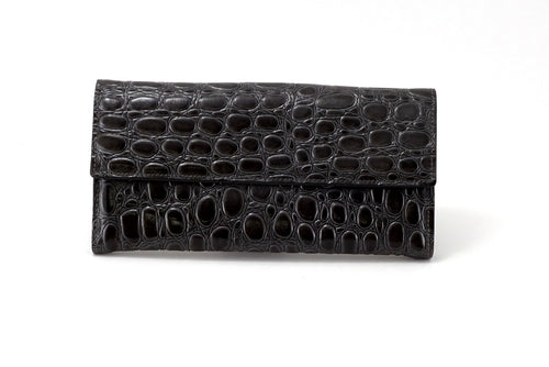 Lyla  Leather heavily textured grey ladies clutch purse front