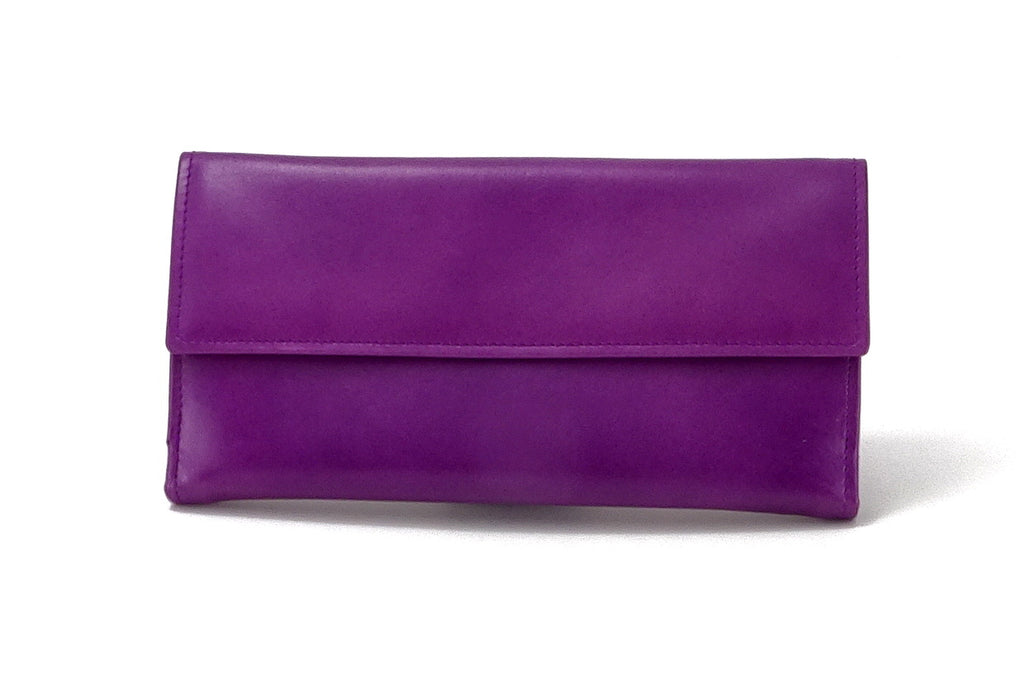 Lyla  Purple & mustard leather ladies clutch purse front