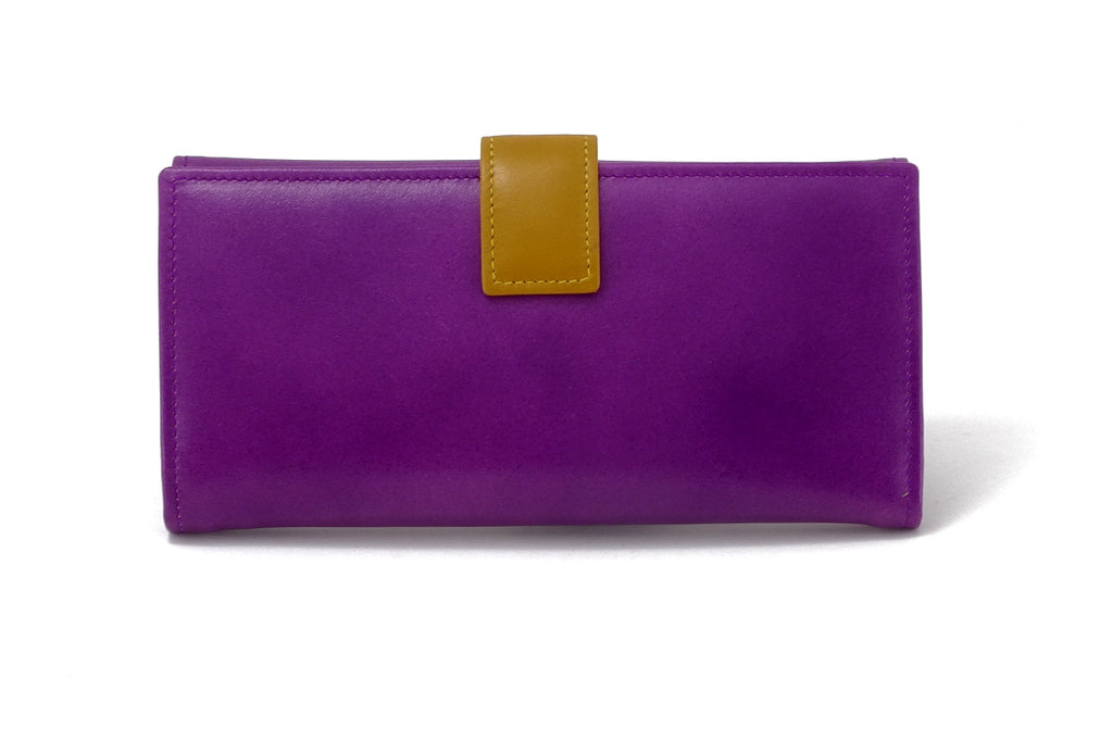 Lyla  Purple & mustard leather ladies clutch purse back tab