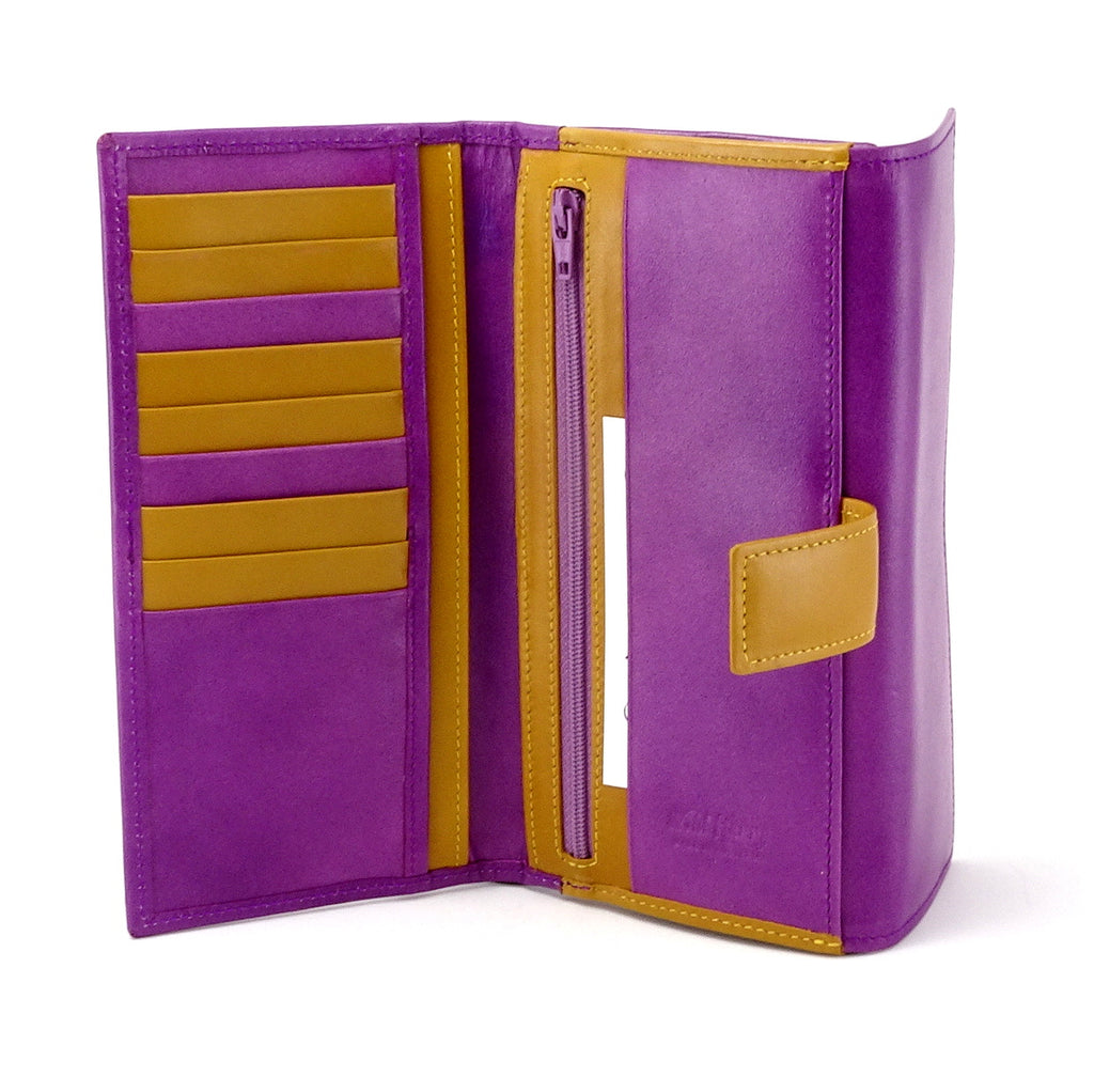Lyla  Purple & mustard leather ladies clutch purse showing inside pocket layout