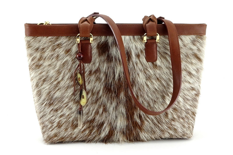 Emily  Medium leather tote bag Hair on hide tan & cream front view