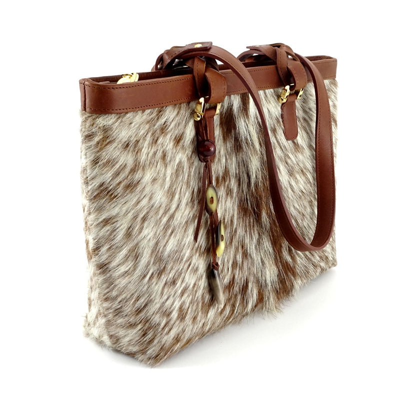 Emily  Medium leather tote bag Hair on hide tan & cream