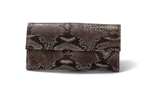 Lyla  Leather snake print ladies clutch purse dark grey front