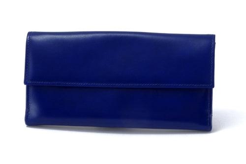 Lyla  Blue & Yellow leather ladies clutch purse front