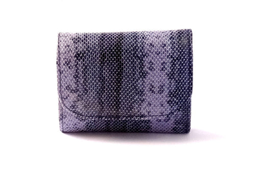 Dorothy  Trifold purse - Purple snake print leather ladies wallet front view