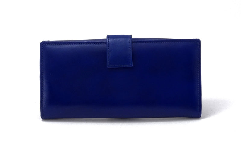 Lyla  Blue & Yellow leather ladies clutch purse back tab