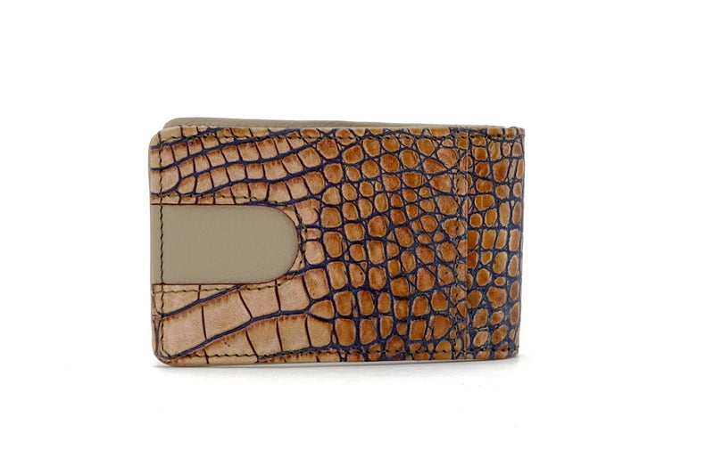 Bill fold - Daryle - Taupe & navy printed leather man's small wallet