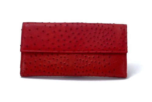 Lyla  Red ostrich chick leather ladies clutch purse front view