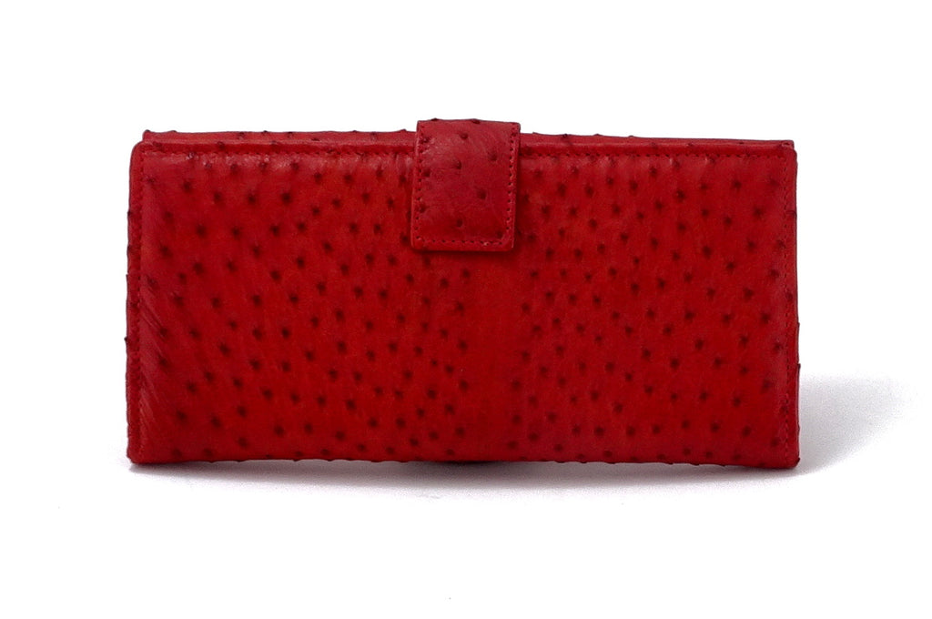 Lyla  Red ostrich chick leather ladies clutch purse showing back tab view