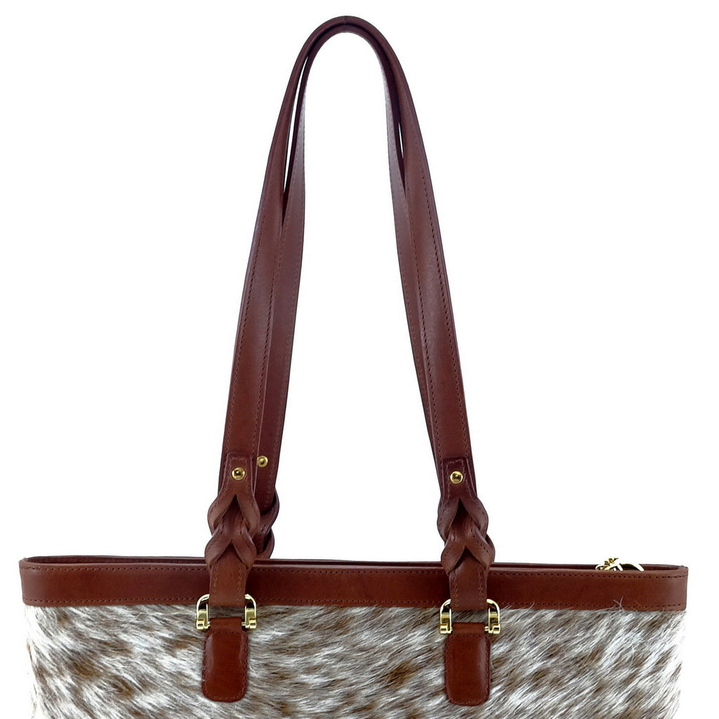Emily  Medium leather tote bag Hair on hide tan & cream shoulder strap view