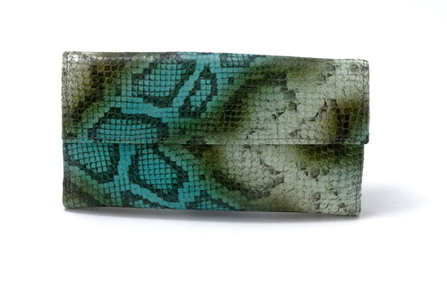 Lyla  Olive snake printed leather ladies clutch purse front