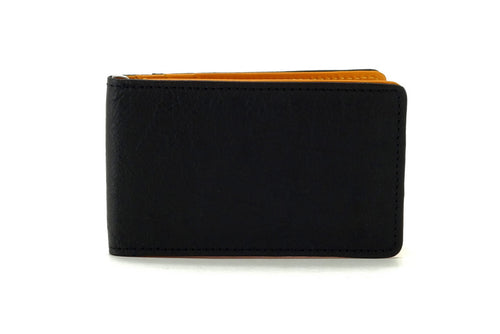 Bill fold - Daryle - Black leather with mango leather lining small men's wallet showing front view