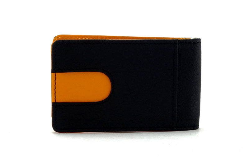 Bill fold - Daryle - Black leather with mango leather lining small men's wallet showing back pocket with mango lining