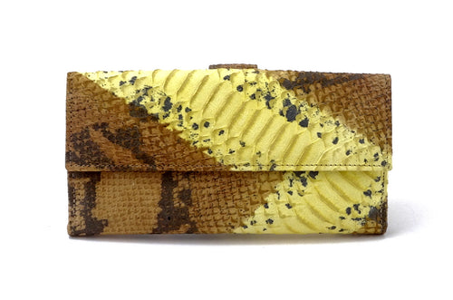 Lyla  Yellow and grey leather snake print ladies clutch purse front