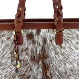 Emily  Medium leather tote bag Hair on hide tan & cream cow horn tassel