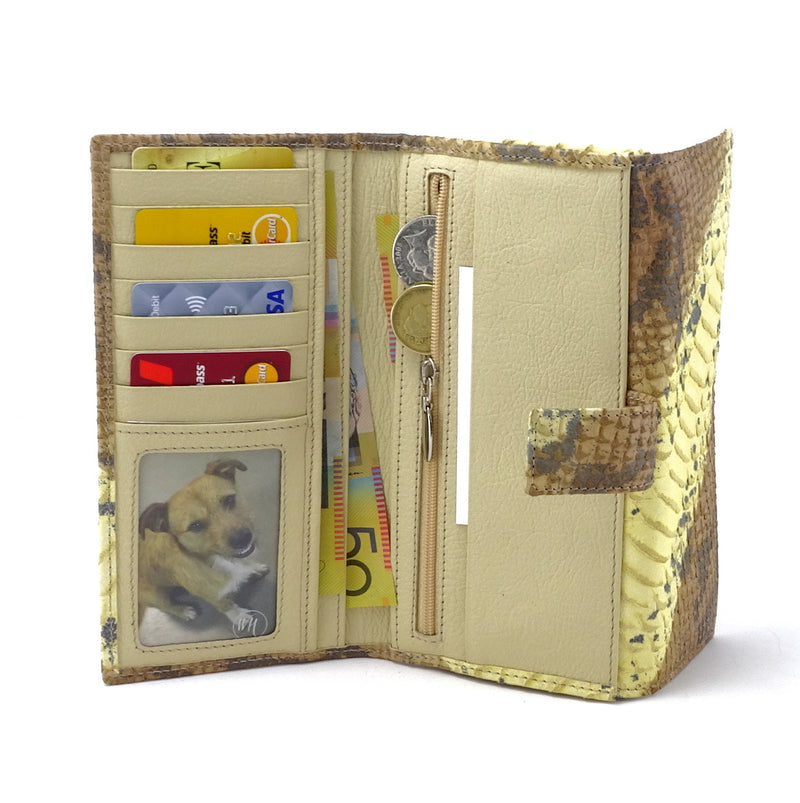 Lyla  Yellow and grey leather snake print ladies clutch purse inside pocket layout in use