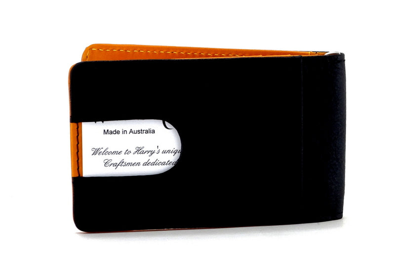 Bill fold - Daryle - Black leather with mango leather lining small men's wallet showing back pocket with card inserted