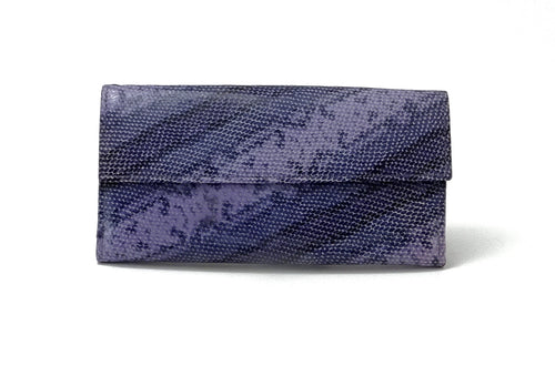 Lyla  Purple snake printed leather ladies clutch purse front view
