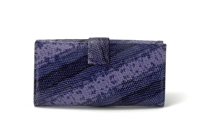 Lyla  Purple snake printed leather ladies clutch purse back tab