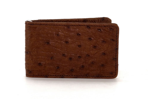 Billfold - Daryle - Brown ostrich leather, ostrich lining man's small wallet showing front view