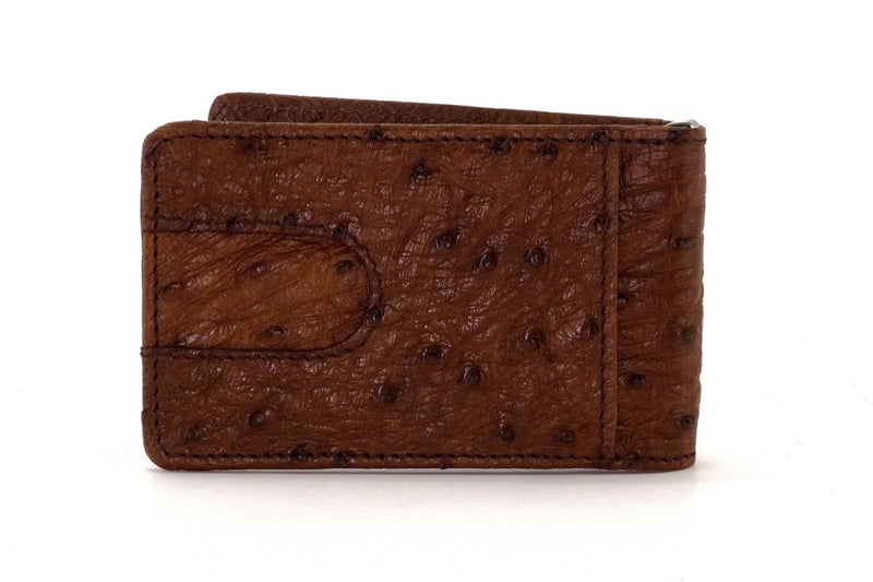 Billfold - Daryle - Brown ostrich leather, ostrich lining man's small wallet showing back pocket view