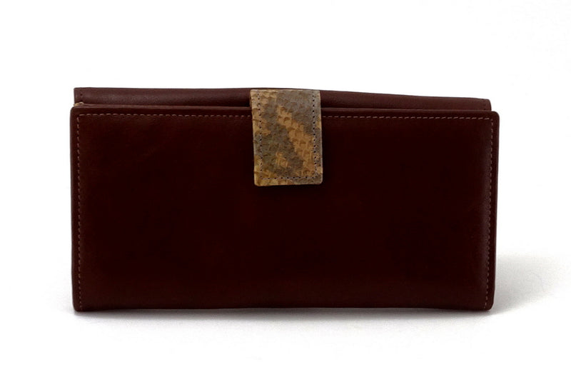 Lyla  Brown leather, snake print feature ladies clutch purse back tab