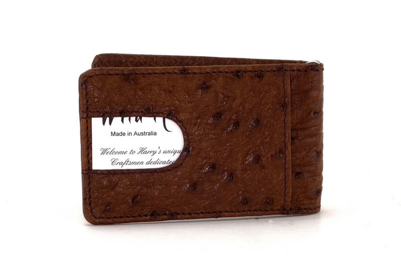 Billfold - Daryle - Brown ostrich leather, ostrich lining man's small wallet showing back pocket with business card in pocket