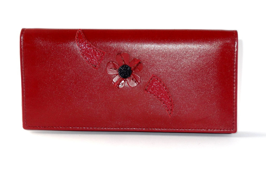 Caitlin  Chilli leather with flower detail ladies purse front outside view