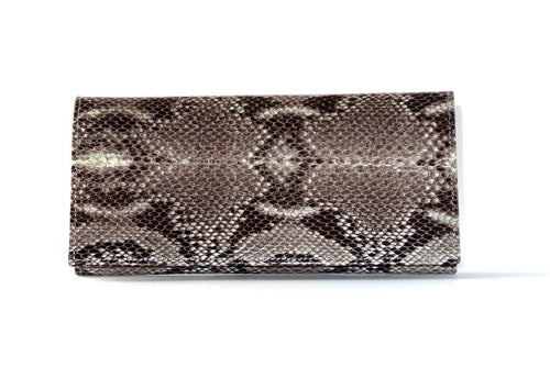 Caitlin  Grey snake print leather with cream internal ladies purse front view
