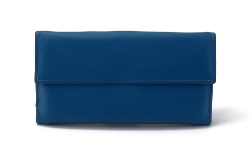 Lyla  Azure leather ladies clutch purse front