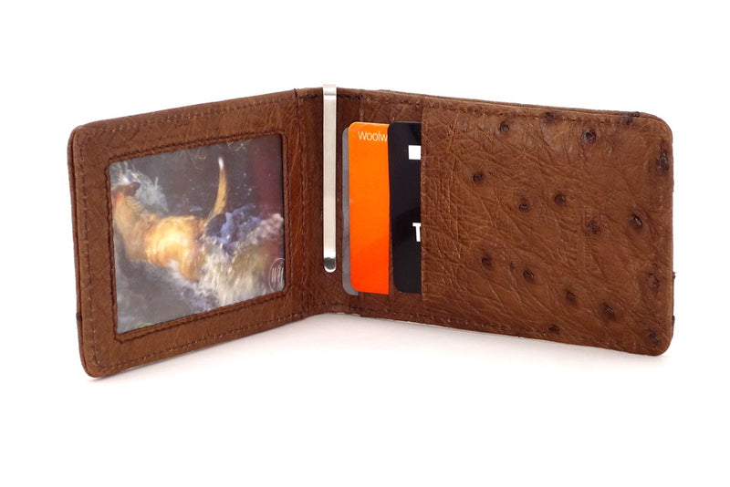 Billfold - Daryle - Brown ostrich leather, ostrich lining man's small wallet showing inside with credit cards and picture in picture window