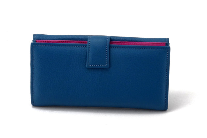 Lyla  Azure leather ladies clutch purse back tab