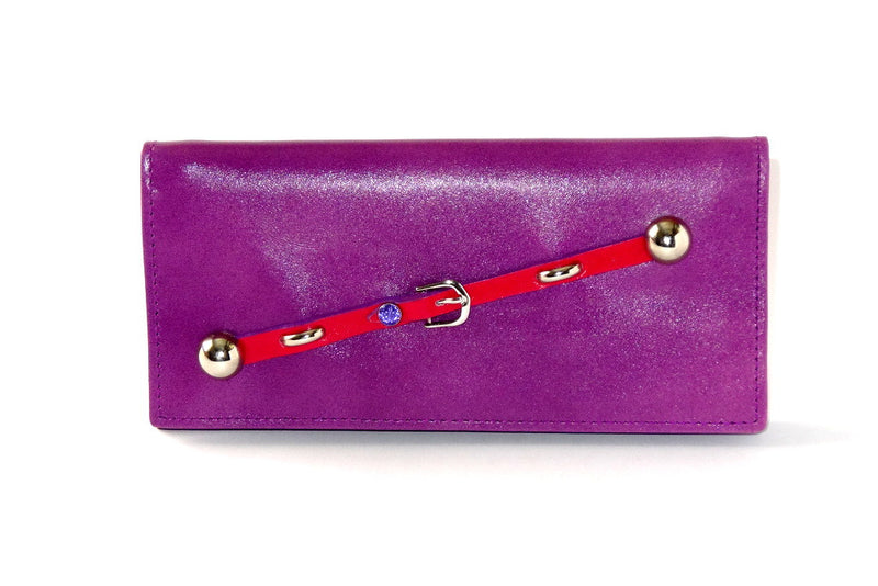 Caitlin  Purple leather red strap buckle stud detail ladies purse front view
