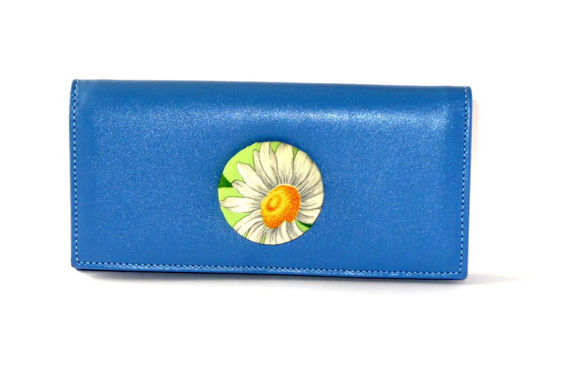 Caitlin  Sky Blue leather daisy fabric button detail ladies purse front view